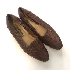 Dark Brown Woven Leather Loafer Flats, Size 9W